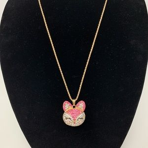 NWOT Cute Betsy Johnson Pink Fox Necklace!